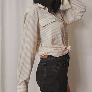 NWT vintage deadstock stripe button up blouse
